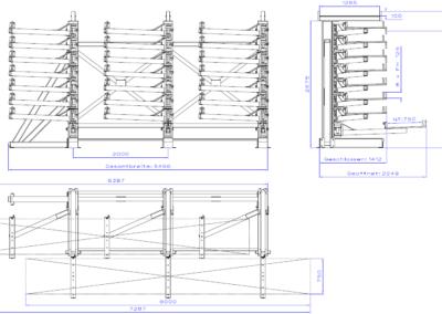 SwOut - 1seitig NT 750 x P 1000 mit 3 Ständer H2775xA2000 - 8x125 - Links