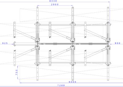 SwOut - 2seitig NT 750 x P 1000 mit 3 Ständer H4175xA2000 - 8x125 + Aufbau_Draufsicht