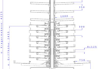 SwOut - 2seitig NT 750 x P 1000 mit 3 Ständer H4175xA2000 - 8x125 + Aufbau_Seitenansicht