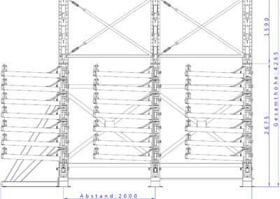 SwOut - 2seitig NT 750 x P 1000 mit 3 Ständer H4175xA2000 - 8x125 + Aufbau_Vorderansicht
